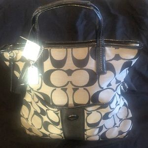 BRAND NEW! Silver & Black Coach Tote Bag!